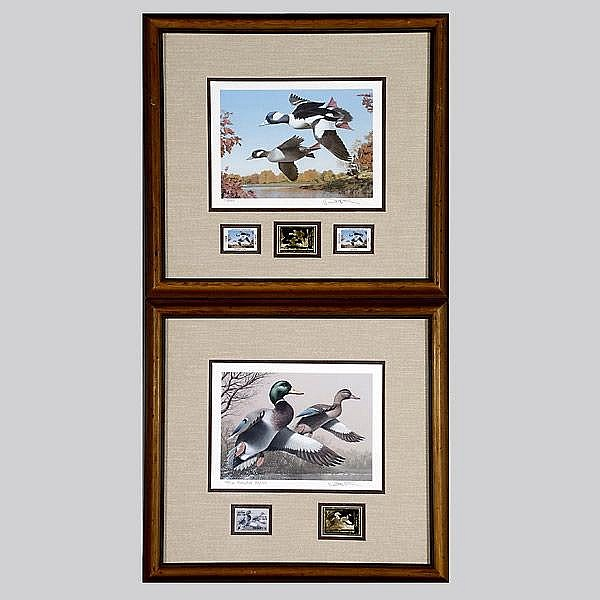 Pair of Robert Steiner signed Duck Stamo