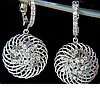 1.10CT DIAMONDS DANGLE EARRINGS 3D SWIRL DECO HOOP 1.25