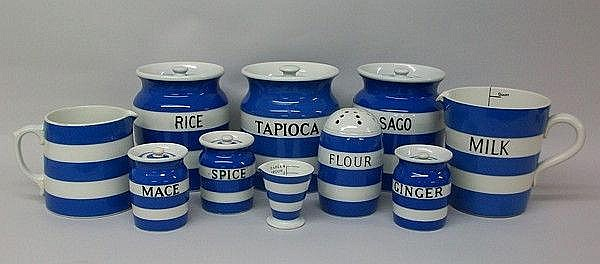 A quantity of T.G. Green blue banded Cornish ware,