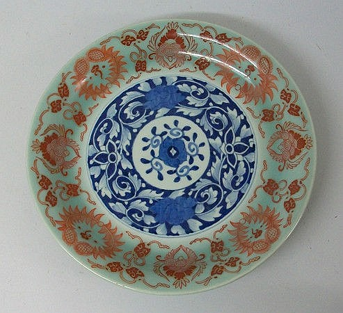 A Chinese porcelain dish decorated in blue and