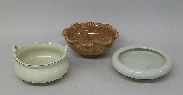 A group of Chinese porcelain bowls, one white
