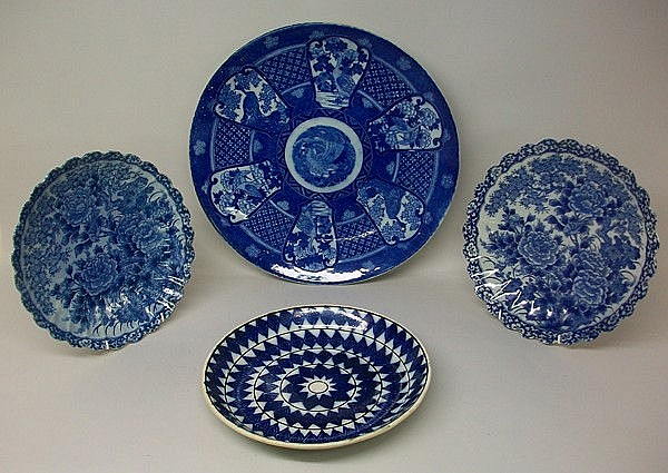 A Japanese porcelain blue and white charger