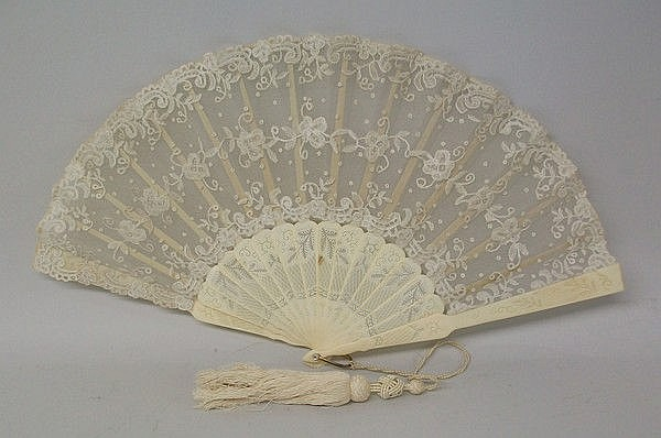 A Chinese export ivory fan, pierced with foliate