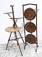 Two mahogany cake stands and a 1930s oak folding cake stand (3)