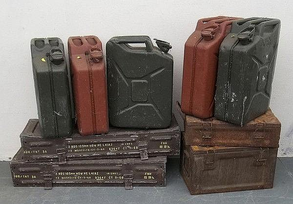 Four 105mm steel ammunition boxes, five assorted