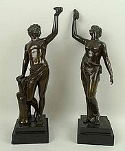 A pair of bronze figures, early 20th century, of