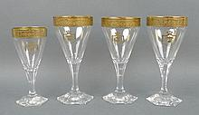 A set of three Moser red wine glasses, 16cm, and