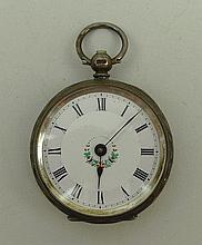A lady's 19th century silver cased pocket watch,