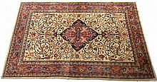 A Kashan carpet, the cream wool ground decorated