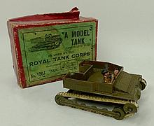A Britains Carden Loyd type Model Tank, as used by