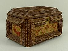 A Continental tramp art box, late 19th century, of