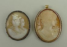A 9ct gold and cameo pendant brooch, bust portrait