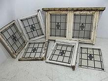 A stained glass window with geometric design,