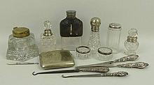A group of four 19th century silver and glass
