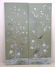 Two De Gournay hand painted silk panels, depicting