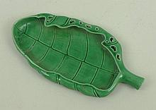 A Chinese green glaze brush washer modelled as a