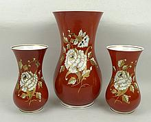 A German porcelain vase of waisted form gilt