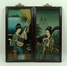 A pair of Chinese reverse paintings on glass, 19th
