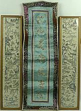 A pair of Chinese embroidered sleeve panels, 19th