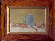 A still life study of a blue jug, with bread,