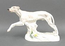 A Meissen porcelain figure of a greyhound modelled