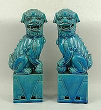 A Chinese porcelain blue glazed porcelain figures