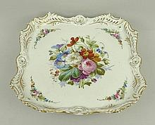 A French porcelain musical dish labelled to the