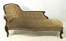 A 19th century rosewood chaise longue, with