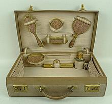 A lady's leather vanity case, early 20th century,