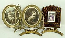 An Art Nouveau marquetry frame, 30 by 25cm, two