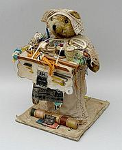 A teddy bear 'knitting lady', holding a tray of