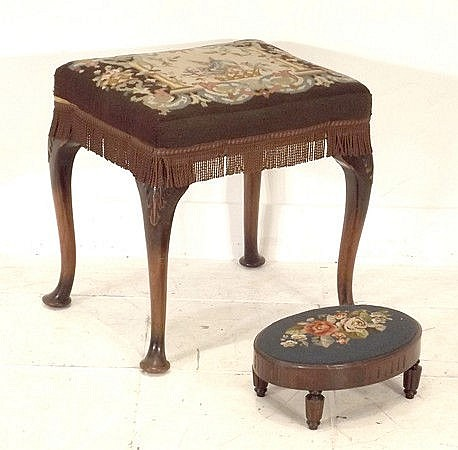 A needlepoint Queen Anne Style stool, plus a small
