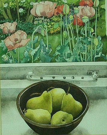 Cary Akroyd: a still life, watercolour and pen, of