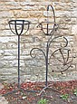 Wrought iron jardiniere and hanging basket stand
