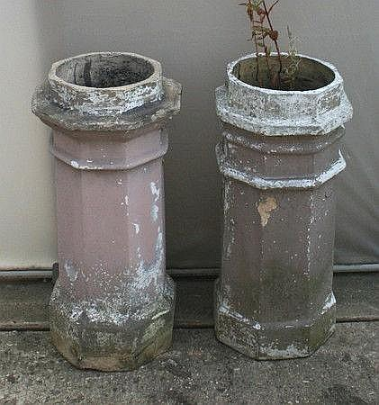 Two chimney pots of octagonal section, 35 by 77cm