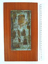 Ceramic plaque, figure, signed