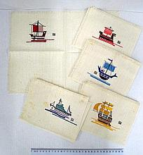 Five embroidered cloth napkins, with ships