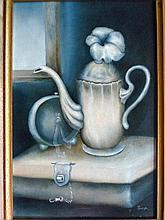 Oil on canvas, still life, signed