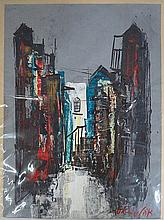 Gouache, houses, signed