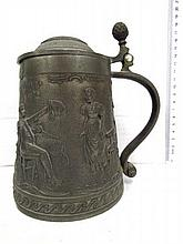 Beer or wine jug, pewter with embossment and