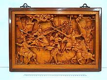 Chinese wood embossment, war scene
