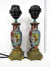 Pair of table lamps, made of Chinese cloisonne