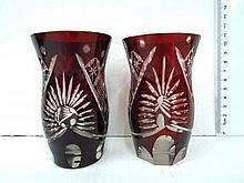 Two Bohemian hand cut crystal glasses, late 19th