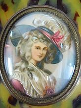Hand painted miniature, lady with hat