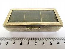 Stamp box for postage stamps, 3 compartments
