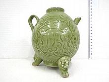 Ming style ceramic teapot, with artisan carving