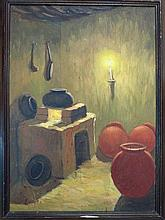 Oil on canvas, interior of a Peruvian farm house,