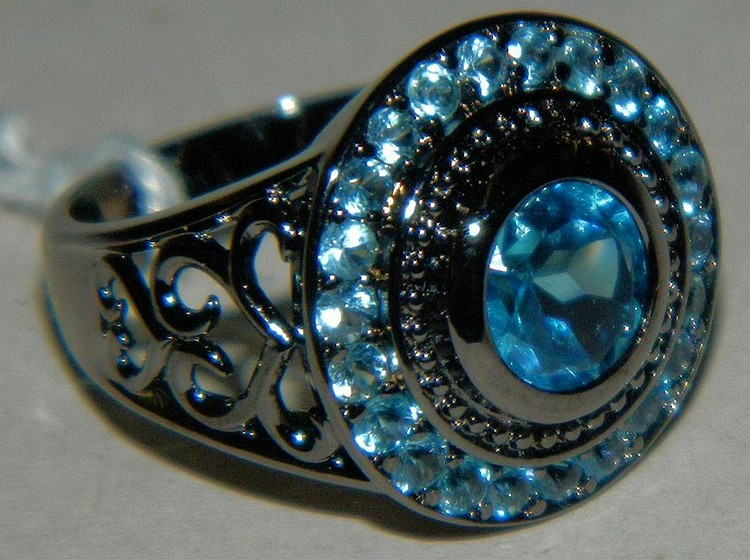 Sterling Silver Ladies Ring with Blue Stones