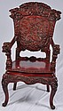 Very ornately carved Oriental dragon chair