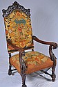 Ornately Carved Throne Chair w Needlepoint Cushion
